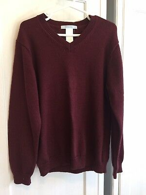 Janie and Jack Cashmere Blend Burgundy Maroon V Neck Sweater 6 NWT!