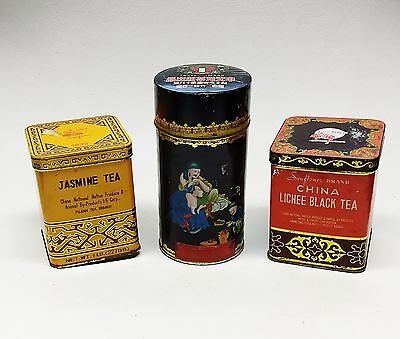 Vintage Collectible Asian Tea Tins ~ Lot of 3