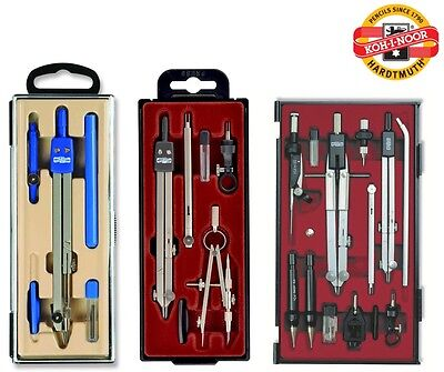 Metal Set Of Compasses Koh-I-Noor Technical Precision Drawing Math Geometry New