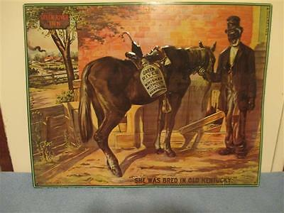 GREEN RIVER The Whiskey Without A Headache embossed metal/tin sign 18 3/4X13 3/4