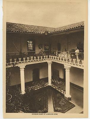 Antique Mexico Mexican Home Architecture House Topiary Garden Plants Old Print