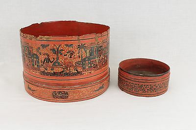 Antique Burmese Thai Indian Chinese Red Lacquer Large Betel Box