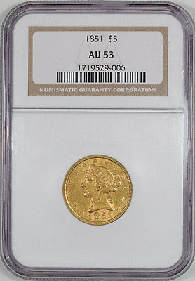 1851 $5 Gold Ngc Au-53.  Another Coin From The Reeded Edge!
