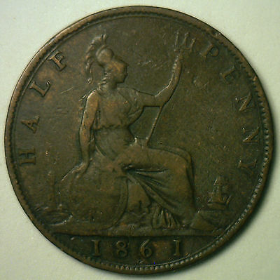 1861 Bronze Half Pence UK Half Penny Britain Coin YG