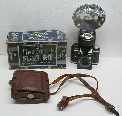 Vintage Beacon II Camera With Leather Case & Flash in Box