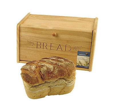 New Bamboo Wooden Engraved Bread Bin with Drop Down Front Lid Handle Storage Box