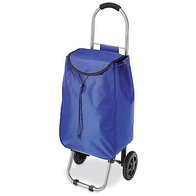 Shopping Cart Lightweight Rolling Trolley Bag Grocery Laundry Tote Basket Blue