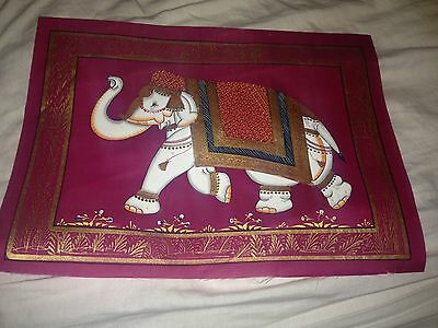 INDIAN FABRIC PAINTING OF ELEPHANT (Facing Left)