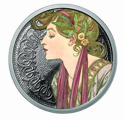 Alphonse Mucha 1 0z .999 silver coin Colorized Laurel #6 in Art series limited