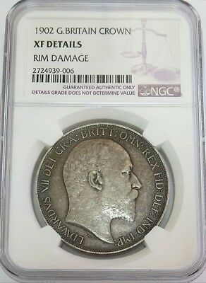 1902 Silver Great Britain Crown King Edward Vii Coin Ngc Extremely Fine*
