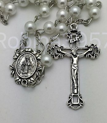 Miraculous Center Traditional Crucifix White Pearl Catholic Rosary Beads