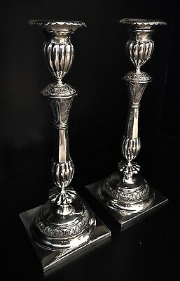 Rare 1850-60s Antique Russian 875 Silver Candlesticks - 13""
