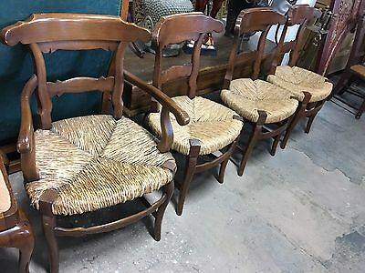 Rush Seat Chairs Set Of 6 Two Arm Chairs 4 Side Chairs Vintage Wood Frames