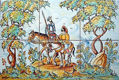 """Hand Painted QUIXOTE and SANCHO, tiles 18""""x12"""" original Spanish  high quality,"""