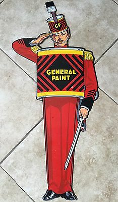 Rare 1940's General Paint Advertising Sign,  Soldier, Metal, Enamel, SWP, 30""
