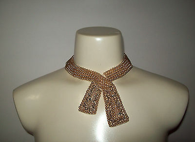 Vintage Faux Pearl Beaded Collar Choker Necklace, Made in Japan, GLAM Art Deco