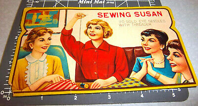 Vintage Sewing Susan Sewing Needle Book, great graphics & Colors, some needles