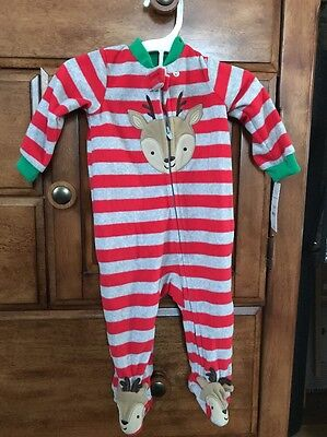NWT Carters Just One You Christmas Baby Boy Reindeer Sleeper Outfit 6 Months