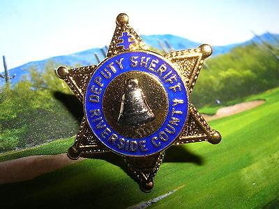 "RIVERSIDE COUNTY Deputy Sheriff Mini Gold STAR Bell Police 1"" Badge PIN Tie Tac"