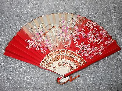 Vintage 1940's Occupied Japan Printed Japanese Hand Fan Red w/white flowers
