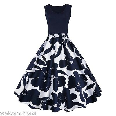 Retro Women Vintage Print A Line High Waisted Evening Party Cocktail Swing Dress