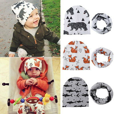 Baby Hat Toddler Infant Warm Soft Cotton Hat Cap + Scarf Boy Girl Polar Bear Fox