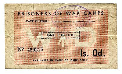 WWII POW Camp Great Britain WD One Shilling Note, Easton Grey Camp