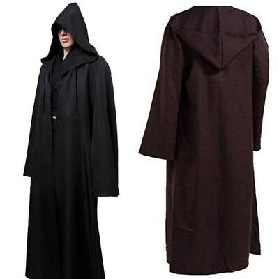 US Halloween Adult Hooded Robe Cloak Cape Costume Star Wars Jedi Cosplay Apparel