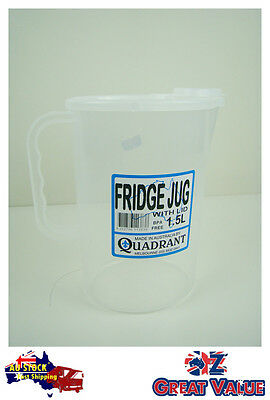 1pc Fridge Jug  With Lid 1.5L Plastic Clear Transparent Cup Jug Quadrant Q113838