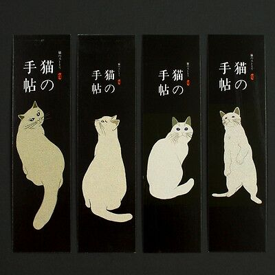 Pack of 30 Japanese bookmarks of cats and watercolour flowers #B0005