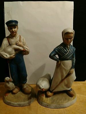 Vintage 1975 Duncan Ceramic Prod. Inc of Dutch Boy and Girl with Goose