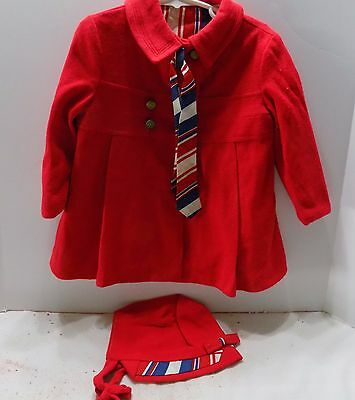 1960's Red Child's Coat & Bonnet With Striped Lining  Free Ship