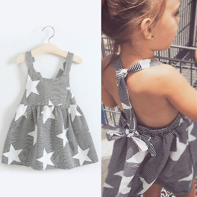 Toddler Kids Girls Summer Dress Black and white Stripes Star Dress Clothes UK