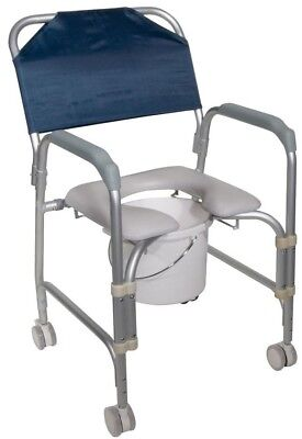 Portable Shower Chair Commode Casters Aluminum Padded Vinyl Removable Bucket