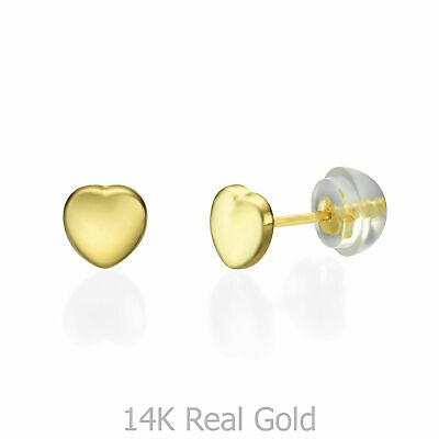 ac413779b Small 14K Solid Gold Stud Earrings Heart Children Delicate Jewelry Gift  Girls