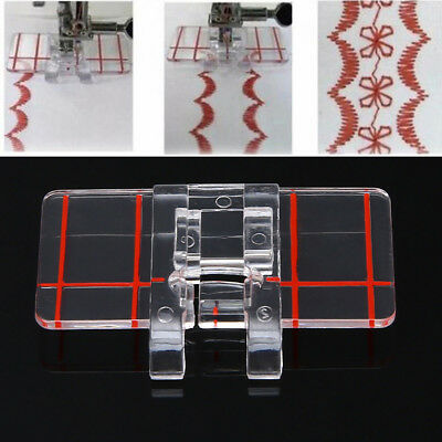 Domestic Sewing Machine Fit Brother Clear Plastic Parallel Stitch Foot Presser