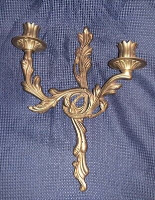 Awesome Art Deco Candelabra Wall Sconce Candle Holder-Brass Metal Holds 2