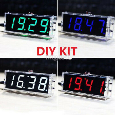 4-Digit LED Digital Electronic Clock DIY Kit Light Control Transparent Case AU~
