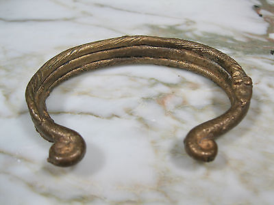 Vintage / Antique African Cast Bronze Currency Cuff Bracelet W/ Snakes Africa