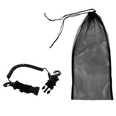 Scuba Dive Snorkel Carry Mesh Bag + Coiled Lanyard Holder Strap Accessories