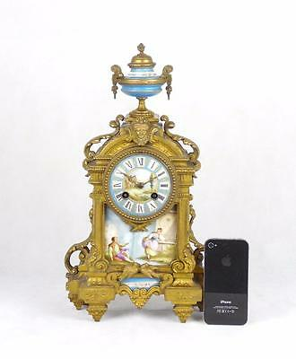 French 19thC Gilt Metal Sevres Style Porcelain Mantle Clock