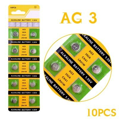 10X 1.55V AG3 LR41 392 SR41 192 LR736 Button Cell Coin Alkaline Battery For Toy