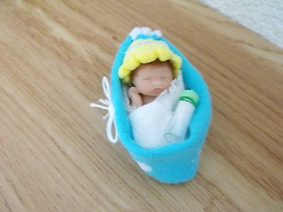 OOAK artist miniature  4.5  cm  polymer  clay   baby doll  1/12th by HARRY