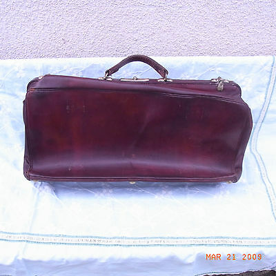 Antique Suitcase Leather Bag Trip Luggage Deb Xx / Old Leather Suitcase