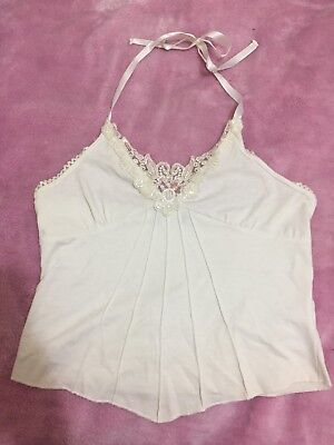 Beautiful White Lace And Beaded Halter Ribbon Top