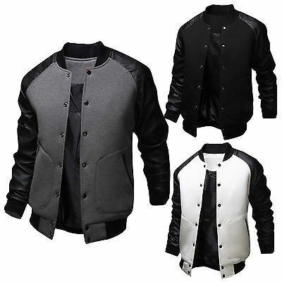 Mens Slim PU Leather Varsity Baseball Jacket College Sports Outwear Button Coat