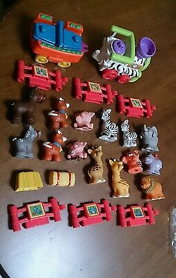 24pc F-P Little People FARM + ZOO + BABY ANIMALS Musical TRAIN + FENCE Mixed LOT