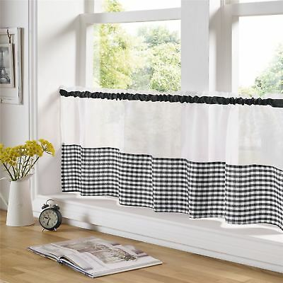 "Black And White Gingham 59"" X 18"" – 150Cm X 45Cm Kitchen Cafe Curtain Panel"