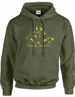 Carp Fishing Clothing,  Hoody,  Dream Big, Dare To Fail!  ( Olive Green.)