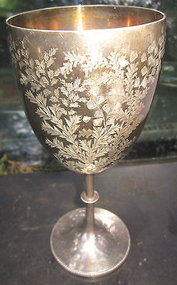 """very old 8 1/2"""" tall EPNS silver , beautifully etched wine goblet , marked to ba"""